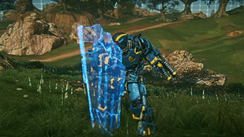 PlanetSide 2 Update 09 bezogener Spiele-Screenshot: Max-Einheit mit Aegisschild
