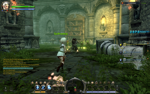 Dragon Nest Screenshot mit Waldi-Charakter und cooler Armbrust