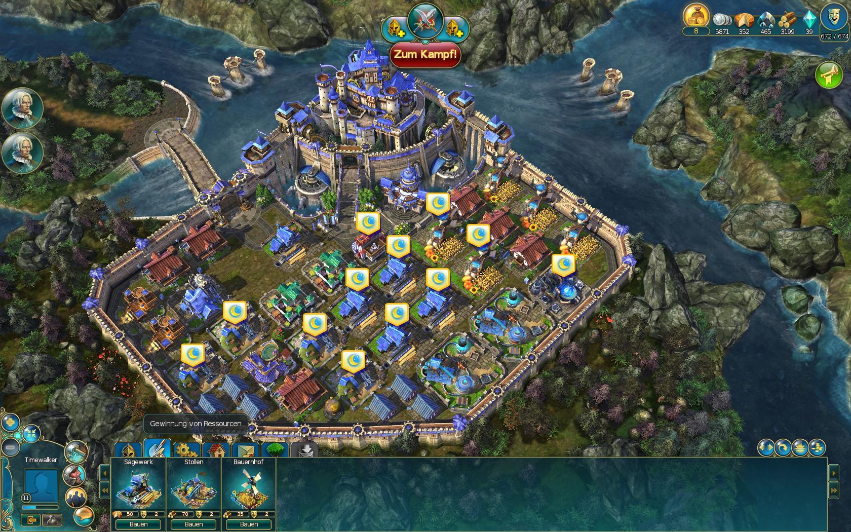 Prime World Screenshot - Schloss-Ansicht mit Fokus auf das Baumenü