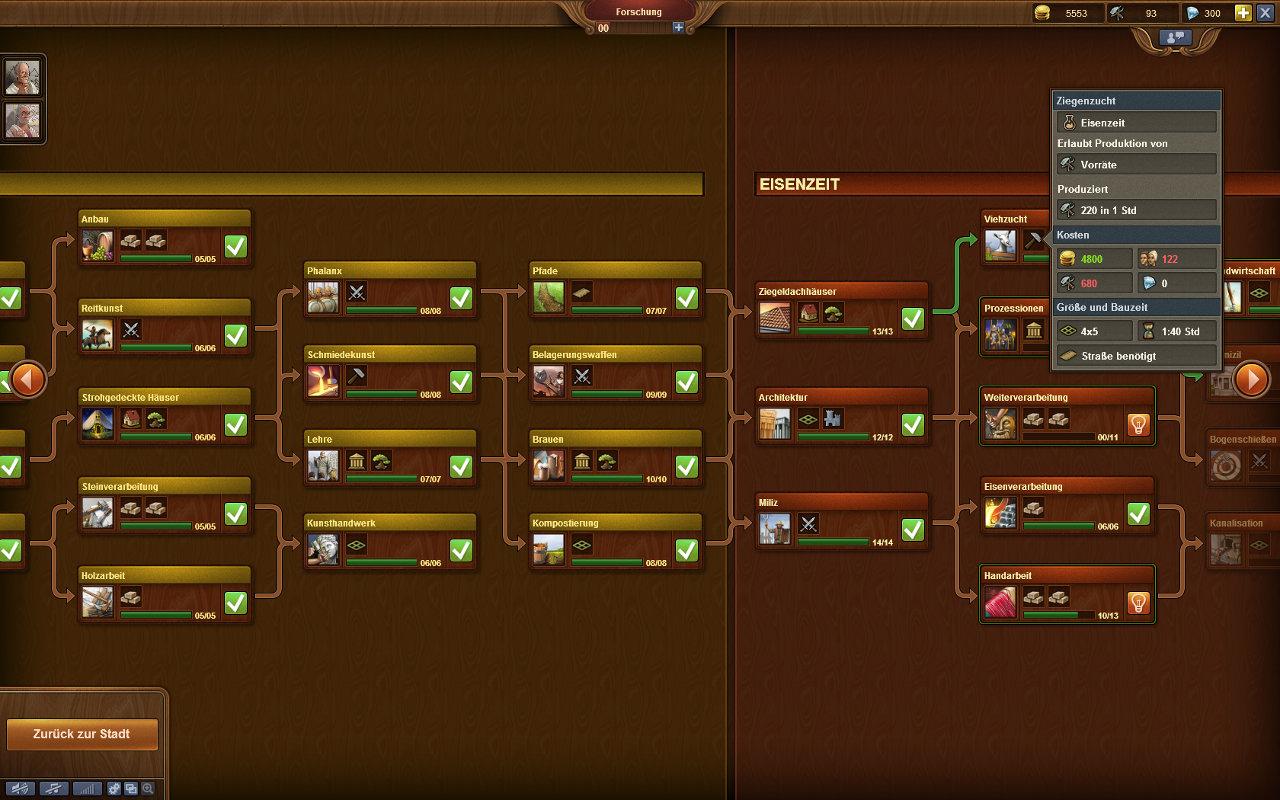 Forge of Empires Gameplay-Screenshot: Forschungsbaum, zwischen Bronze- und Eisenzeit