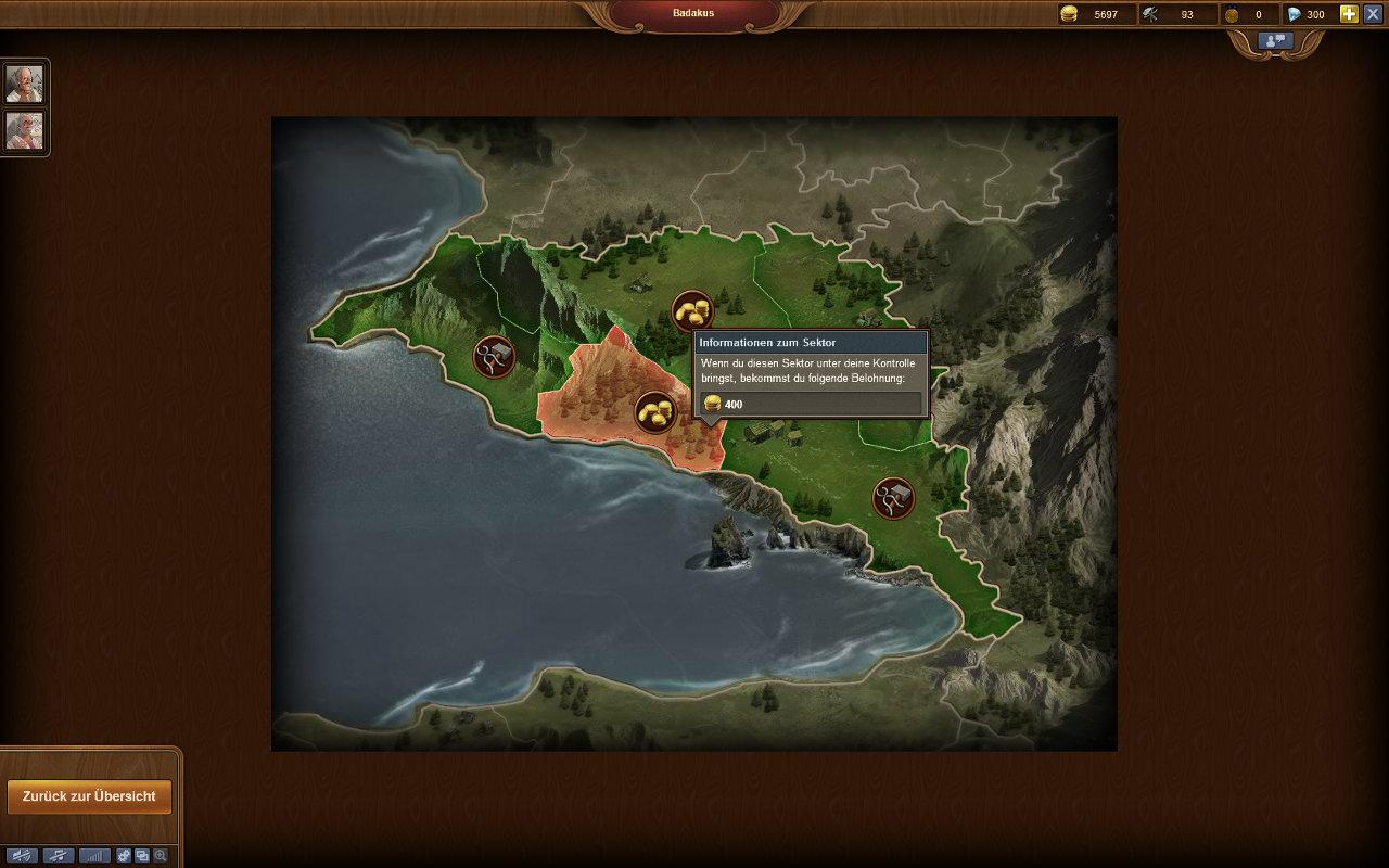 Forge of Empires Gameplay-Screenshot: Eine Profinz im Detail (mit Sektoren)
