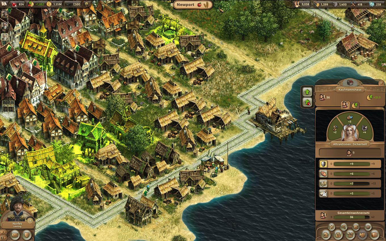 Anno Online Gameplay-Screenshot: Gebäude-Bedürfnisse eines Kaufmannshaus