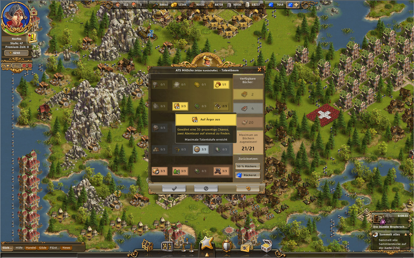 Anno Online Gameplay-Screenshot: Die Siedler Online Gameplay Screenshot: Der Entdecker & sein Talentbaum.