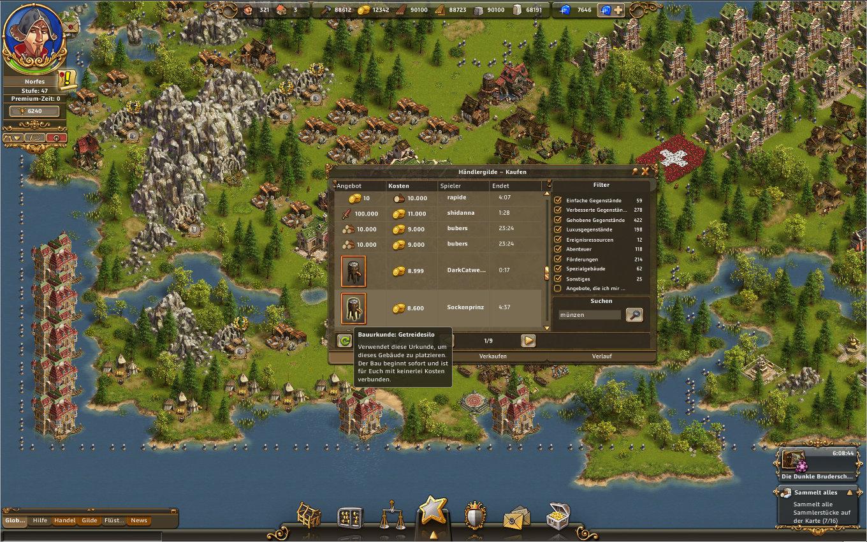 Die Siedler Online Gameplay Screenshot: Handeln in DSO - Das Getreidesilo ist übrigens ein ItemShop-Gegenstand, welcher unter Spieler gehandelt werden kann.