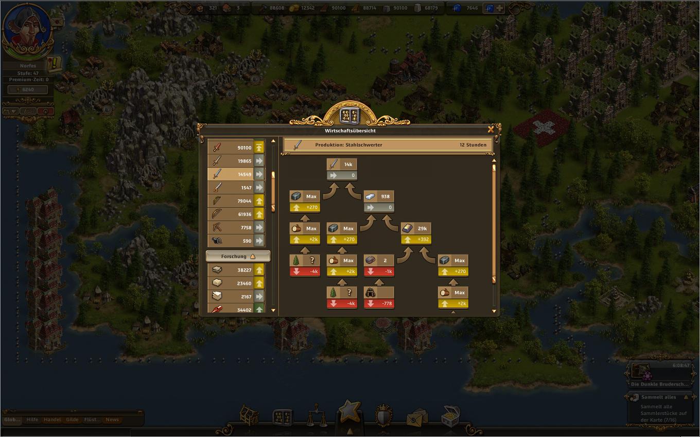 Die Siedler Online Gameplay Screenshot: Wirtschaftszweig der Stahlschwerter.