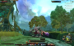Maestia Online Gameplay Screenshot - Charakter mit Reittier in offener Welt