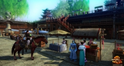 Age of Wulin Screenshot: Mit dem Reittier in Downtown